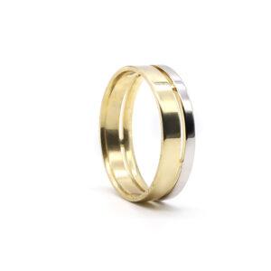 İki Renkli Altın Alyans 6 mm. 4,30 gr.