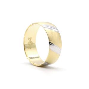 İki Renkli Altın Alyans 8 mm 5 gr