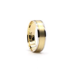 İki Renkli Altın Alyans 6 mm 4 gr